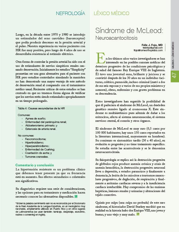 Léxico médico: Síndrome de McLeod: Neuroacancitosis