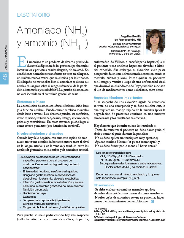 Laboratorio : Amoniaco (NH3) y amonio (NH4 +)