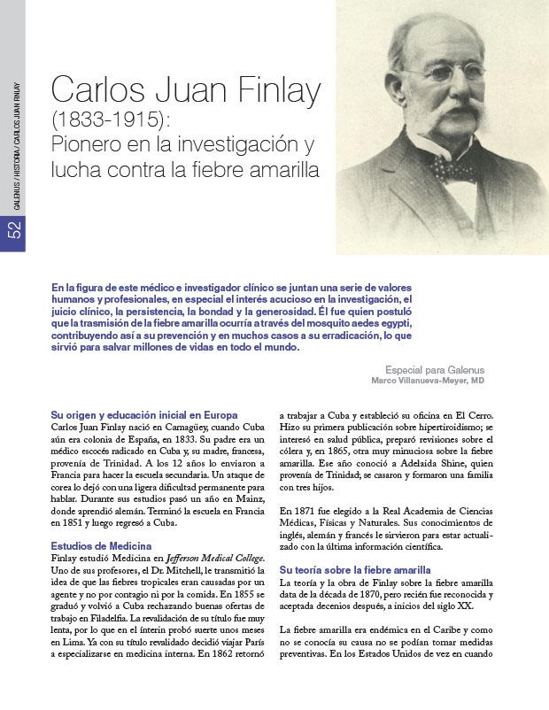 Historia de la Medicina: Carlos Juan Finlay (1833-1915): Pionero en la investigación y lucha contra la fiebre amarilla