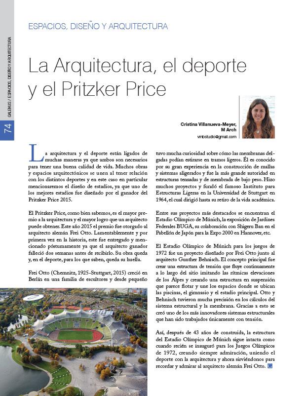 Espacios, diseño y arquitectura: La Arquitectura, el deporte y el Pritzker Price