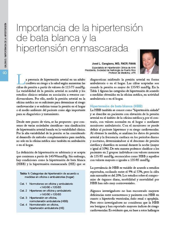 Importancia de la hipertensión de bata blanca y la hipertensión enmascarada