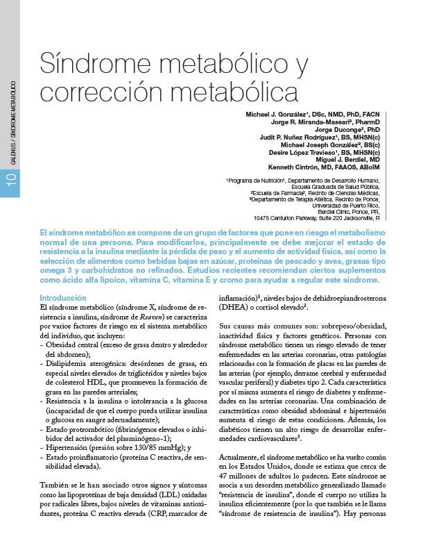 Síndrome metabólico y corrección metabólica