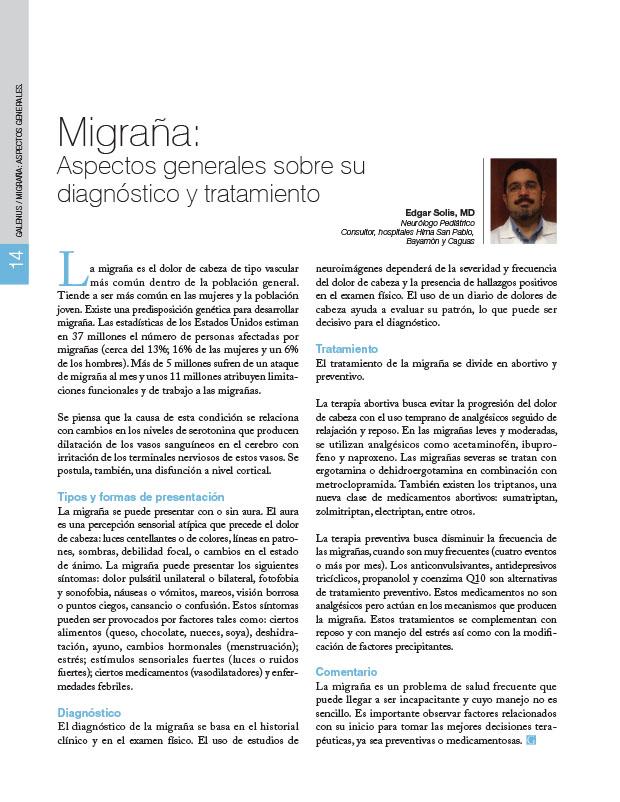 Migraña: Aspectos generales sobre su diagnóstico y tratamiento