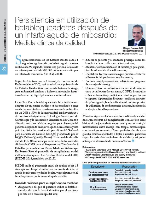 Persistencia en utilización de betabloqueadores después de un infarto agudo de miocardio: Medida clínica de calidad