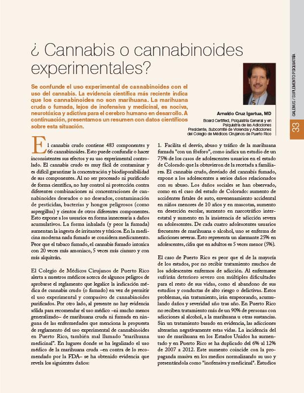 ¿Cannabis o cannabinoides experimentales?