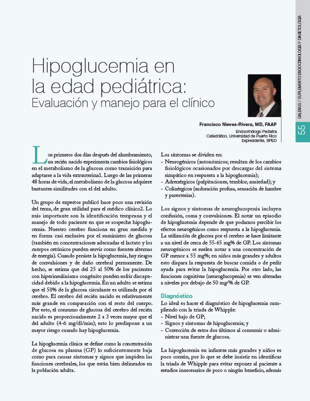 Hipoglucemia en la edad pediátrica: Evaluación y manejo para el clínico