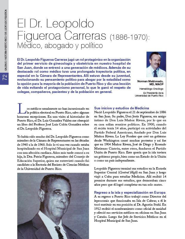 Historia de la Medicina de Puerto Rico: El Dr. Leopoldo Figueroa Carreras (1886-1970): Médico, abogado y político