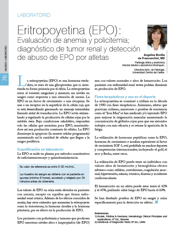 Laboratorio: Eritropoyetina (EPO): Evaluación de anemia y policitemia; diagnóstico de tumor renal y detección de abuso de EPO por atletas