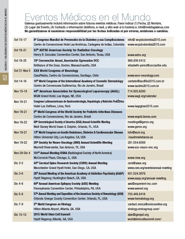 Calendario: Eventos médicos en el Mundo