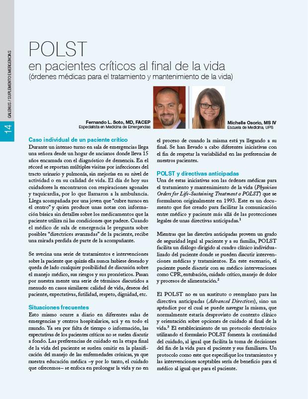 POLST en pacientes críticos al final de la vida (órdenes médicas para el tratamiento y mantenimiento de la vida)