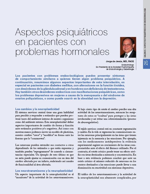Aspectos psiquiátricos en pacientes con problemas hormonales