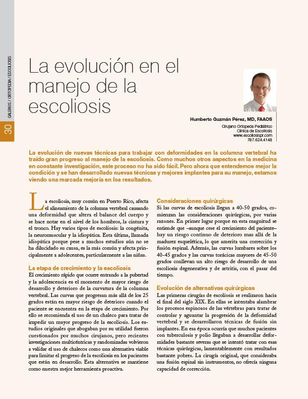 La evolución en el manejo de la escoliosis