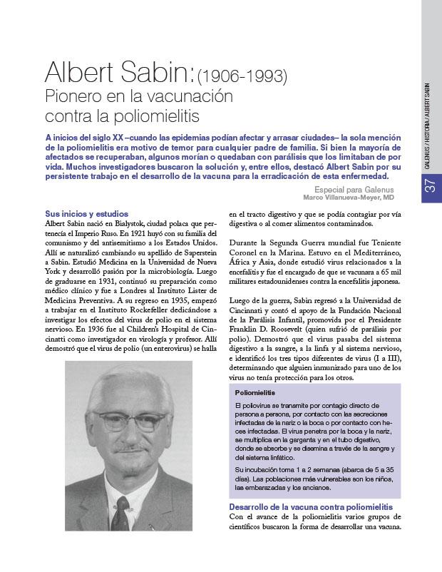 Historia de la Medicina: Albert Sabin: (1906-1993) Pionero en la vacunación contra la poliomielitis