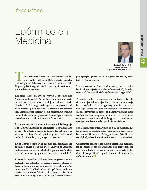 Léxico Médico: Epónimos en Medicina