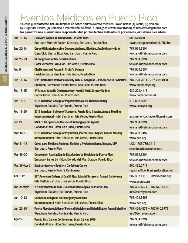 Calendario: Eventos Médicos en Puerto Rico