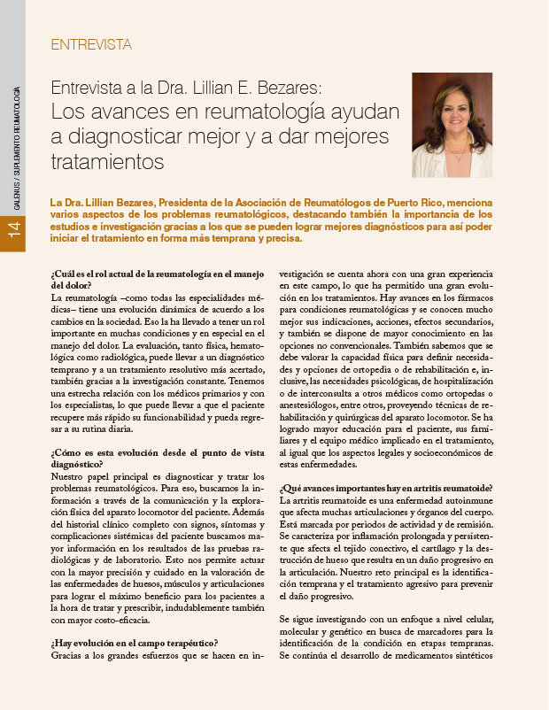 Entrevista a la Dra. Lillian E. Bezares: Los avances en reumatología ayudan a diagnosticar mejor y a dar mejores tratamientos