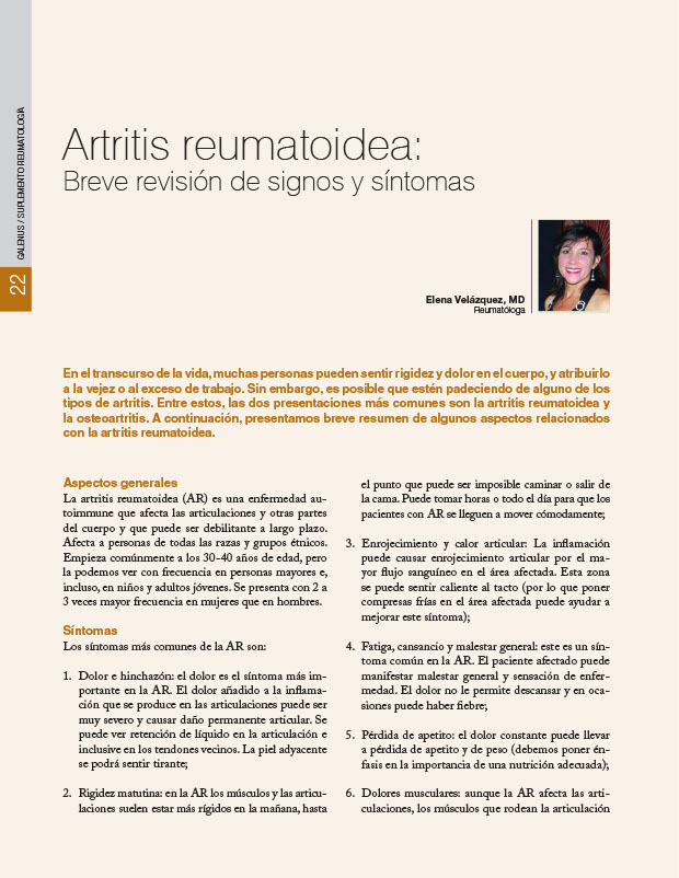 Artritis reumatoidea: Breve revisión de signos y síntomas