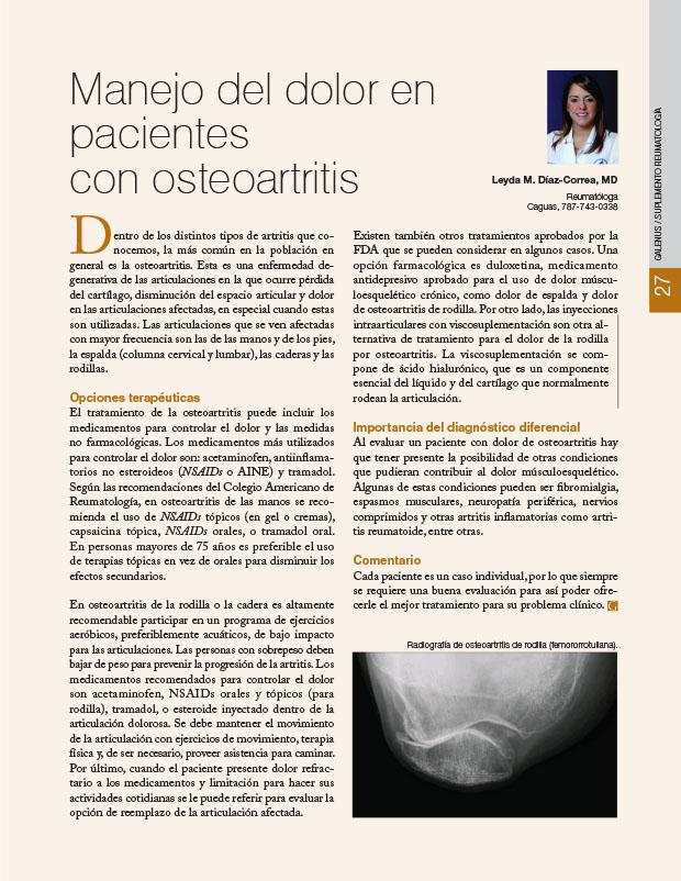 Manejo del dolor en pacientes con osteoartritis