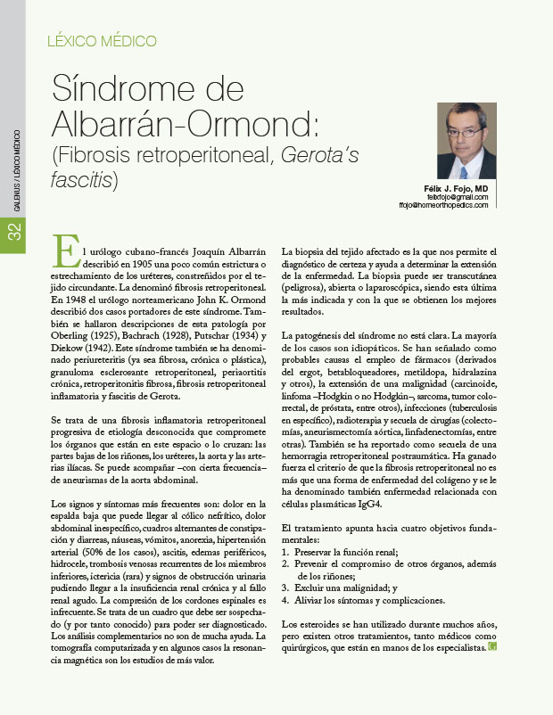 Léxico Médico: Síndrome de Albarrán-Ormond:(Fibrosis retroperitoneal, Gerota's fascitis)