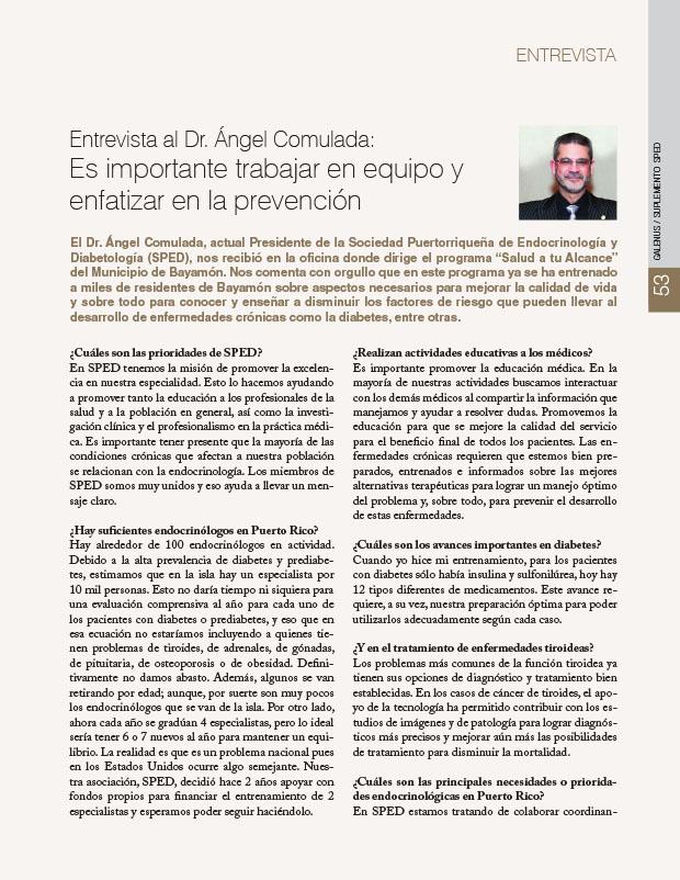 Entrevista al Dr. Ángel Comulada: Es importante trabajar en equipo y enfatizar en la prevención