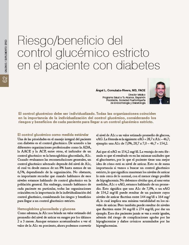 Riesgo/beneficio del control glucémico estricto en el paciente con diabetes