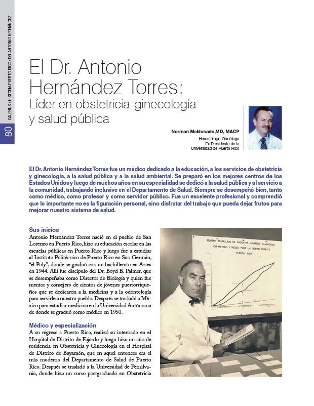 Historia de la Medicina de Puerto Rico: El Dr. Antonio Hernández Torres: Líder en obstetricia-ginecología y salud pública