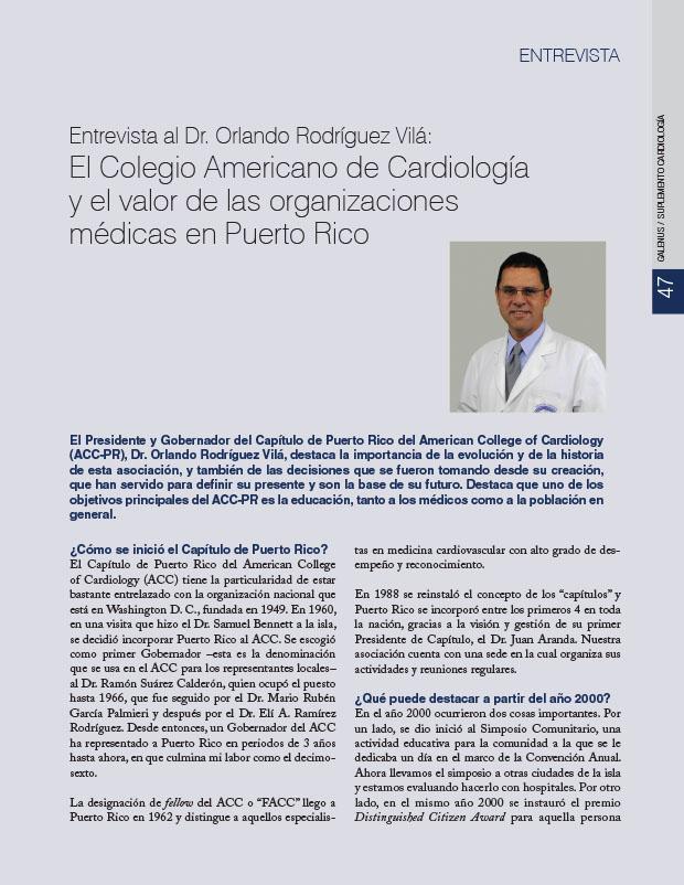 Entrevista al Dr. Orlando Rodríguez Vilá: El Colegio Americano de Cardiología y el valor de las organizaciones médicas en Puerto Rico