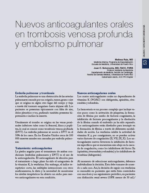 Nuevos anticoagulantes orales en trombosis venosa profunda y embolismo pulmonar