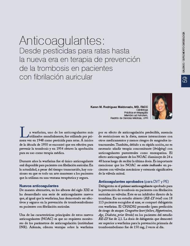 Anticoagulantes: Desde pesticidas para ratas hasta la nueva era en terapia de prevención de la trombosis en pacientes con fibrilación auricular