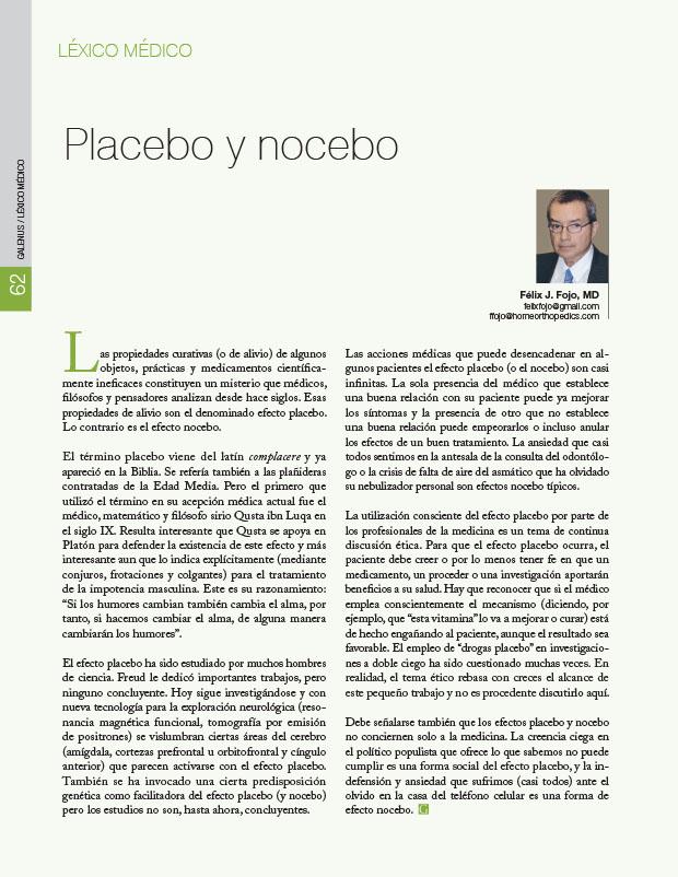 Léxico Médico: Placebo y nocebo