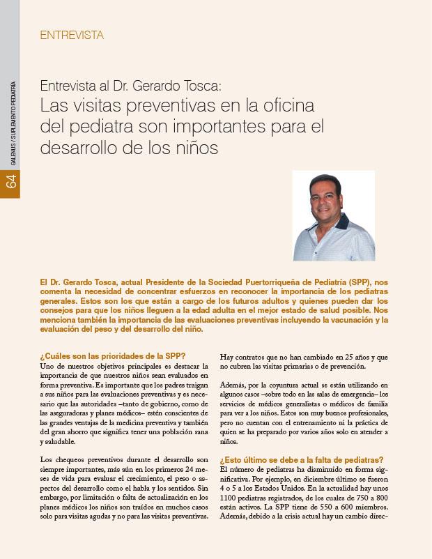 Entrevista al Dr. Gerardo Tosca: Las visitas preventivas en la oficina del pediatra son importantes para el desarrollo de los niños