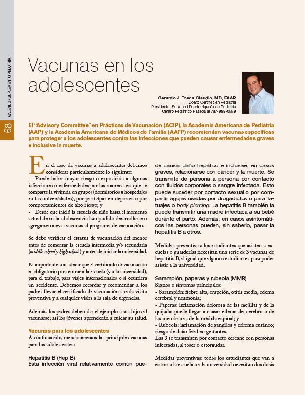 Vacunas en los adolescentes