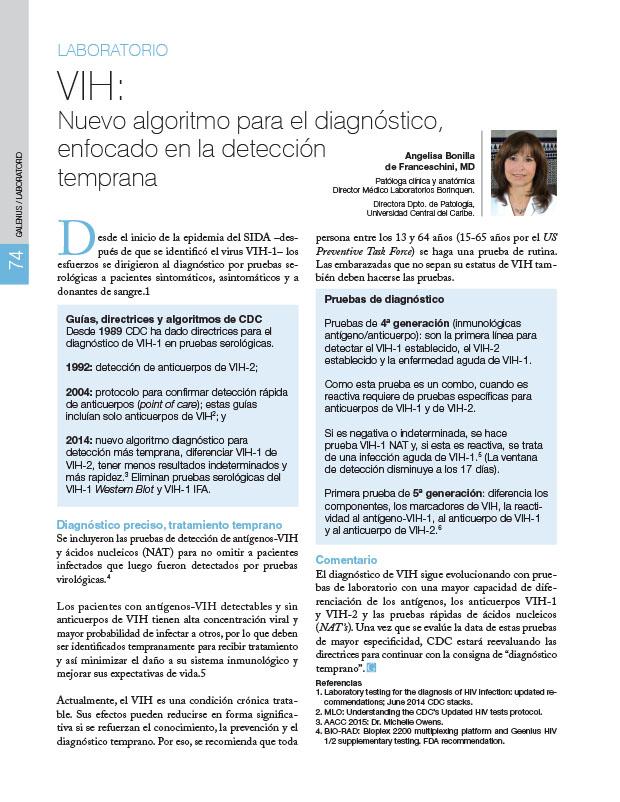 Laboratorio: VIH: Nuevo algoritmo para el diagnóstico, enfocado en la detección temprana