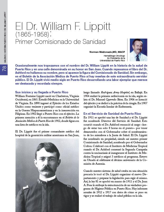Historia Puerto Rico: El Dr. William F. Lippitt (1865-1958): Primer Comisionado de Sanidad