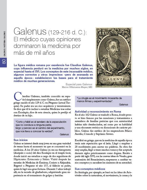 Historia de la Medicina: Galenus (1852-1934): El médico cuyas opiniones dominaron la medicina por más de mil años