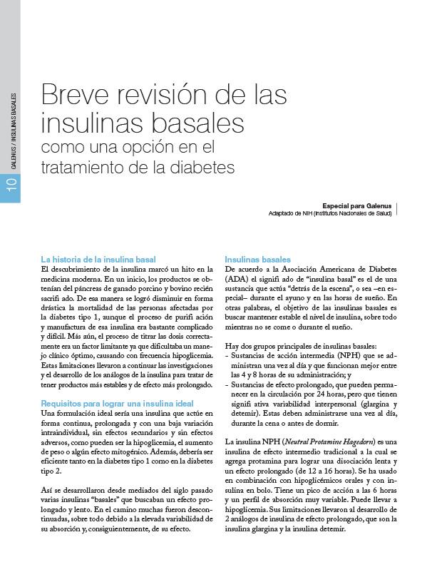 Breve revisión de las insulinas basales como una opción en el tratamiento de la diabetes