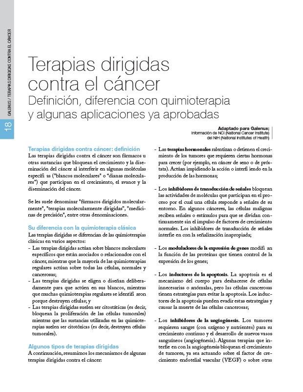 Terapias dirigidas contra el cáncer Definición, diferencia con quimioterapia y algunas aplicaciones ya aprobadas