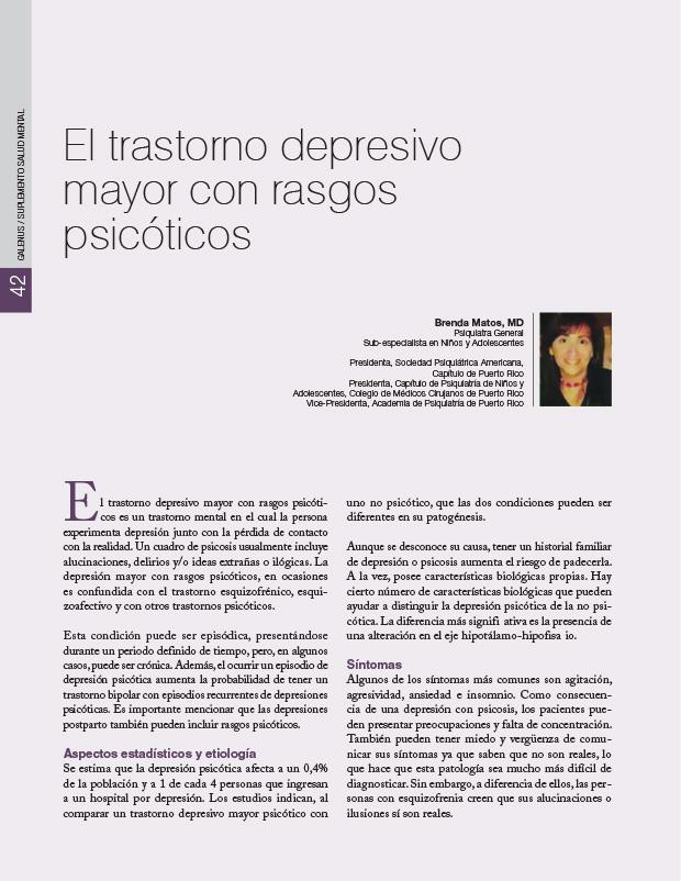 El trastorno depresivo mayor con rasgos psicóticos