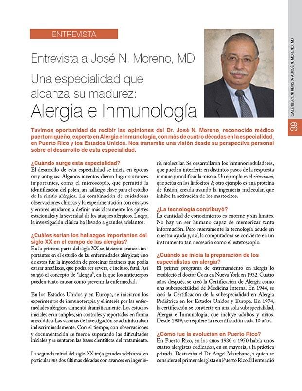 Entrevista al José N. Moreno, MD: Alergia e inmunología