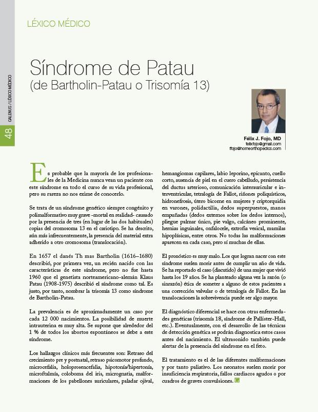 Síndrome de Patau (de Bartholin-Patau o Trisomía 13)