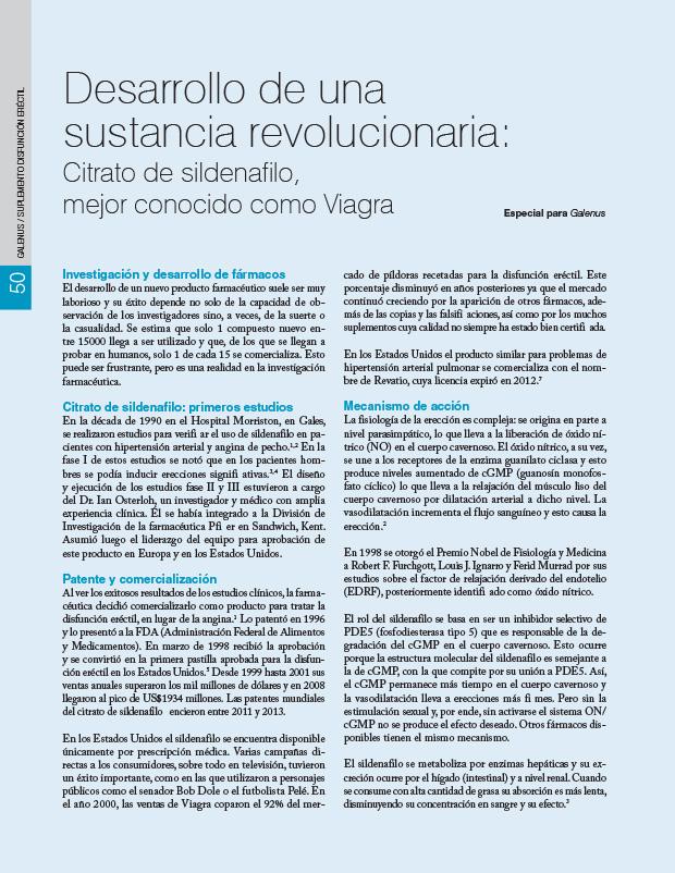 Desarrollo de una sustancia revolucionaria: Citrato de sildenafilo, mejor conocido como Viagra