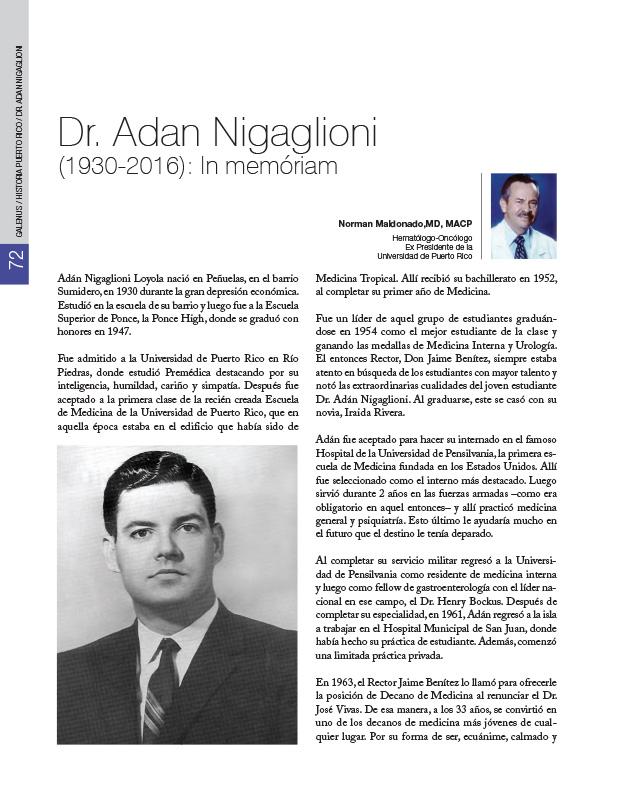 Dr. Adan Nigaglioni (1930-2016): In memóriam