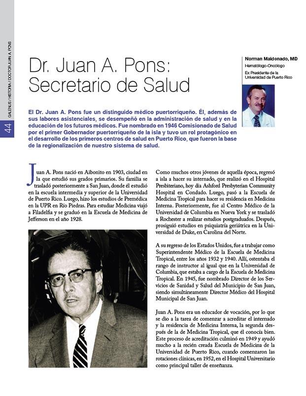 Historia de la Medicina de Puerto Rico: El doctor Juan A. Pons: Secretario de Salud