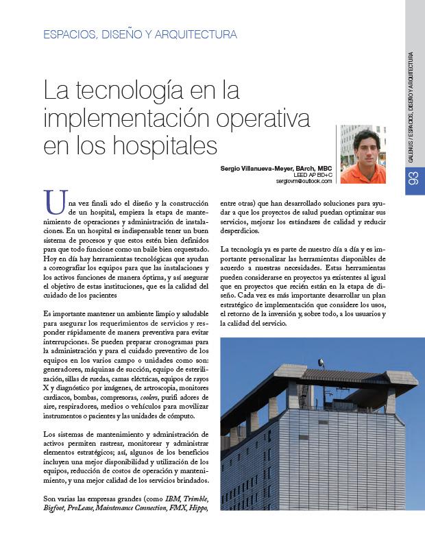 Espacios, Diseño y Arquitectura: La tecnología en la implementación operativa en los hospitales