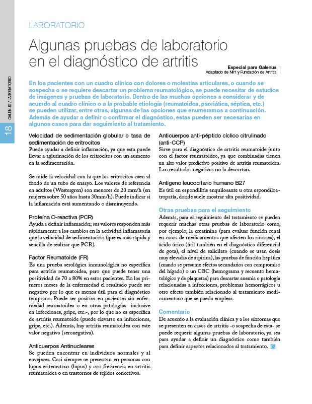 Algunas pruebas de laboratorio para el diagnóstico de artritis