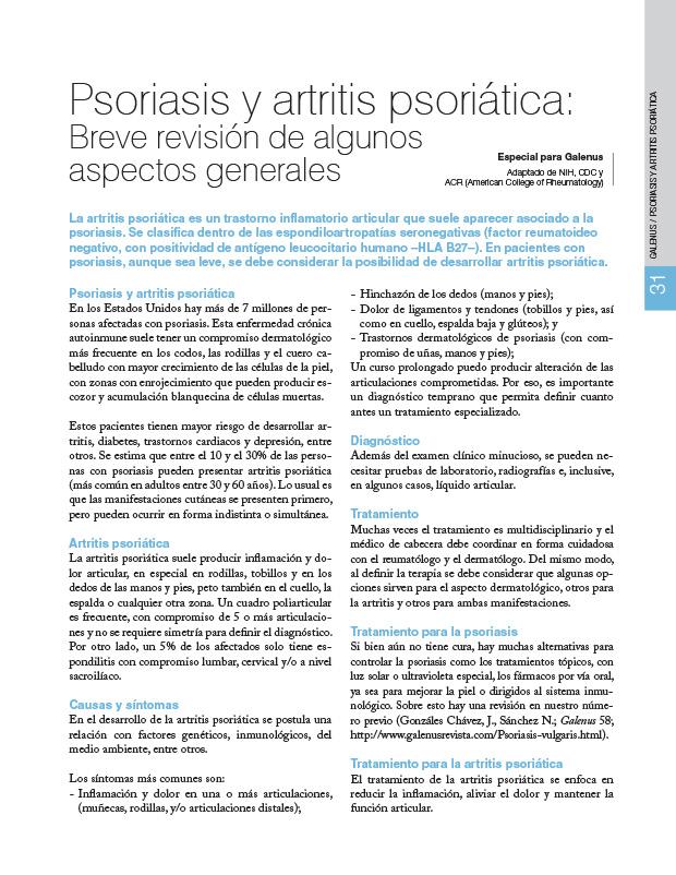Psoriasis y artritis psoriática: Breve revisión de algunos aspectos generales