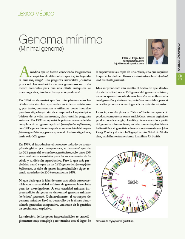 Léxico médico: Genoma mínimo (Minimal genoma)