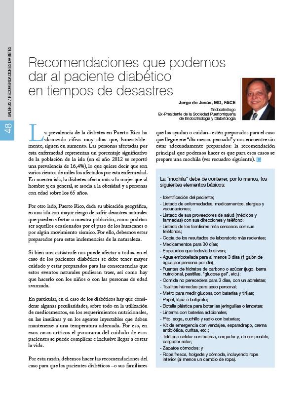Recomendaciones que podemos dar al paciente diabético en tiempos de desastres