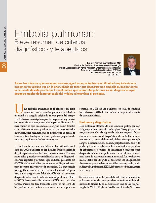 Embolia pulmonar: Breve resumen de criterios diagnósticos y terapéuticos