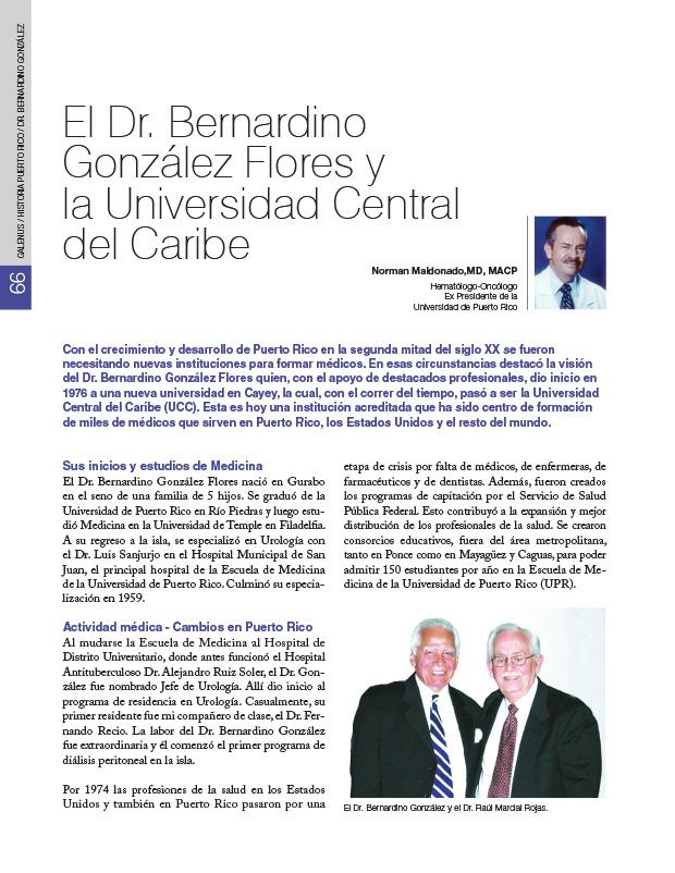 Historia de la Medicina de Puerto Rico: El Dr. Bernardino González Flores y la Universidad Central del Caribe